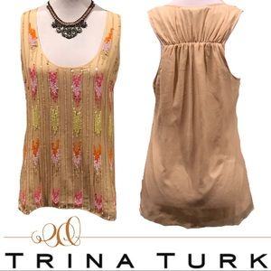 Trina Turk Sequined Tank Top Blouse NWT