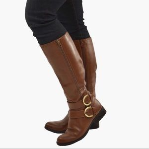 Cognac Double Buckle Wide Fit KneeHigh Riding Boot