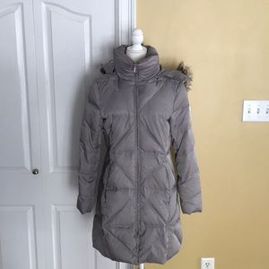 Kenneth Cole Gray long down puffer Coat fur hood