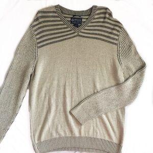American Rag oversized striped grey tan sweater