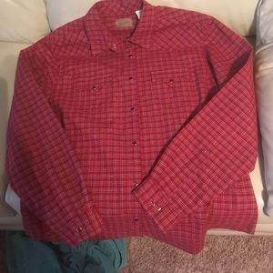 Western Wrangler red shirt with gold sparkle