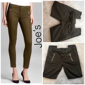 Joe's Green Oblique Zip Skinny Ankle in Olive-28
