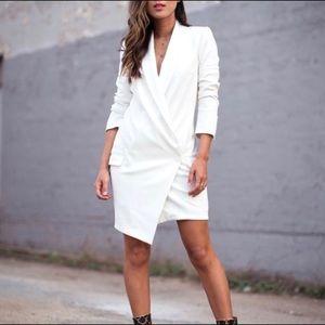 White Asymmetrical Blazer Dress!