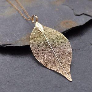 Dipped Real Leaf Skeleton Necklace Gold
