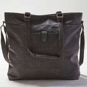 AEO Faux Leather Tote Charcoal Gray