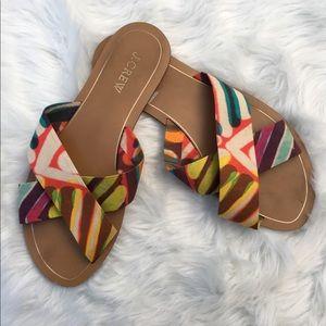 J Crew Colorful Criss Cross Sandals Slides size 8