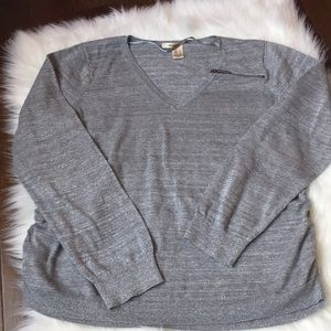 DKNY silver v neck top with zipper