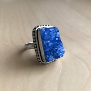 Vintage Sterling Silver Blue Stone Ring size 9