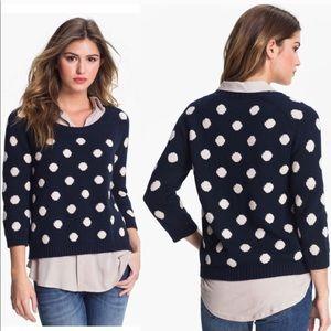 Lucky brand navy polka dot sweater