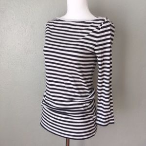J Crew Factory Striped Boatneck 3/4 Sleeve Blouse