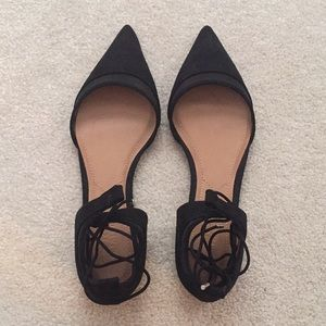 Zara Suede Pointed Lace-Up Flats