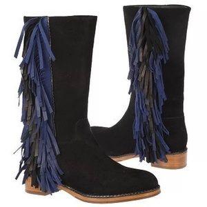 NEW Via Spiga Charlotte Suede boots w/ fringe 7.5