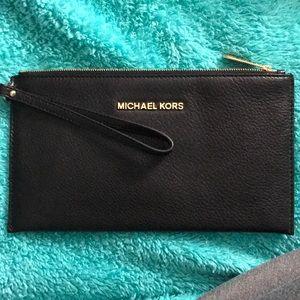 NWT Michael Kors Black leather clutch