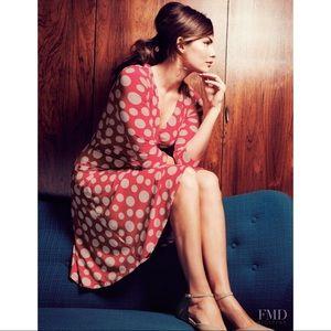 Boden wrap dress polka dot pink/tan Sz 16L euc