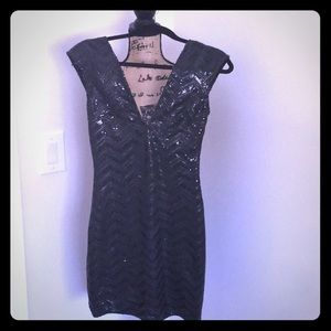 Lovers + Friends Black Sequin Dress