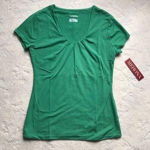Green vNeck cut Short Sleeve Tshirt, NWT