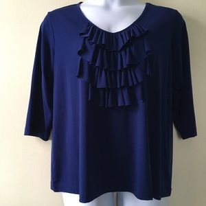 Navy blue liquid knit top by Susan Graver-1X.