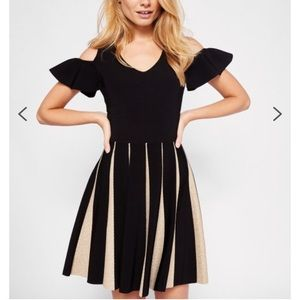 Ted Baker black and gold cold shoulder dress