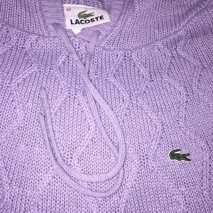 Lacoste cozy knit sweater with hood & front pocket