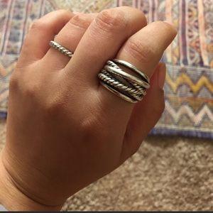 David Yurman Wide Crossover Knot Ring Silver EUC