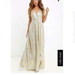 Lulu's All That Shimmer is Gold Maxi Dress