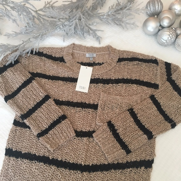 CAMBRIA TAUPE   BLACK STRIPED KNITTED SWEATER M b013fdfd9