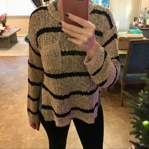 Tobi Sweaters - CAMBRIA TAUPE   BLACK STRIPED KNITTED SWEATER M 7e4f8ed0d