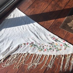 Other - White Embroidered Flower Sarong
