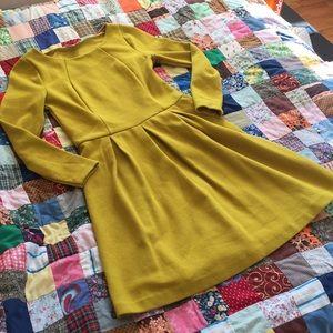 Yellow Boden textured long sleeve dress- Lindsey