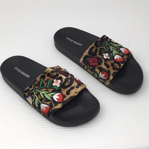 37d5ecbd891 Steve Madden Embellished Leopard Slide Sandals. M 5a2d5d327f0a054bc905c807