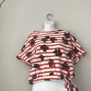 Anthropologie Red Striped Postmark Crop Top size s