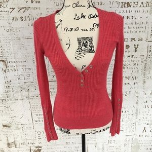 Free People pink ribbed Henley sweater S