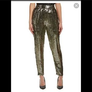 alice + olivia Sequin Trousers Gold $440 retail