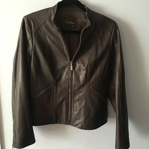 Cole Haan Chocolate Brown Leather Jacket