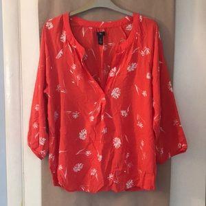 Gap Women's Large Coral Orange Floral Shirt