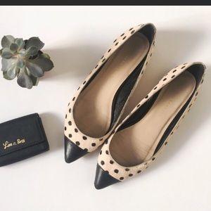 Loeffler randall tan polka dot flats 7.5