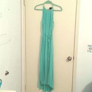 Teal Pleated Hi/Low Maxi Dress