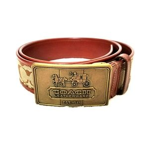 Coach belt leather and canvas size large