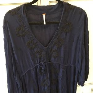 NWOT Free People Embroidered V Maxi Dress