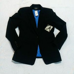 Express Stretch Black Pinstriped Tailored Jacket.