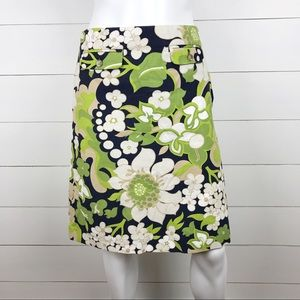 J.Crew 2 Floral Skirt Navy Green Ivory Pockets