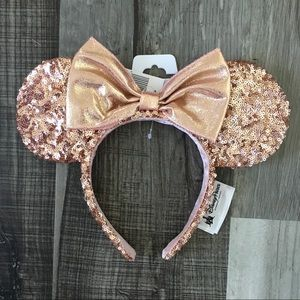 Disney Parks Rose Gold Sequin Minnie Ears NWT
