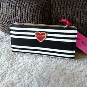 *Sale* Betsey Johnson Black & White Striped Wallet