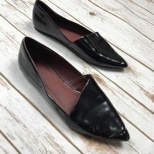 Zara Trafaluc Black Patent Leather Pointy Flats 9