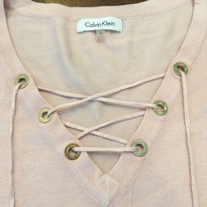 Calvin Klein Sweaters - CALVIN KLEINE Fine Gauge Lace-Up Sweater in Blush ece7acc93