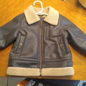 Baby Gap 3T Brown leather wool lined Bomber Jacket