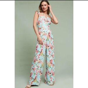 Anthropologie Adeline Rae flutter floral jumpsuit