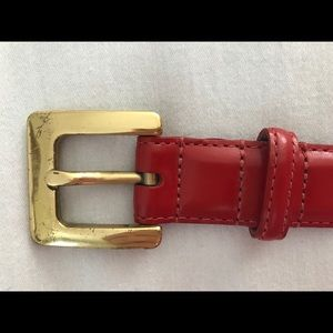 Coach Red Leather Belt with Brass Buckle - Large