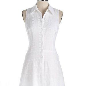 Women's White Crochet Lace Shirtdress 8