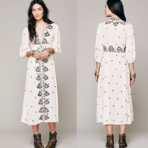 Free people white fable embroidered maxi dress XS